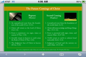 CHART: RAPTURE vs. 2nd COMING OF CHRIST